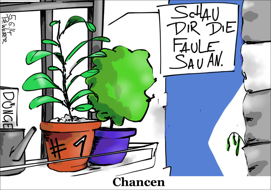 """Karikatur: Blumentopf mit aufgemalter """"1"""". In der Wand: Dünger"""