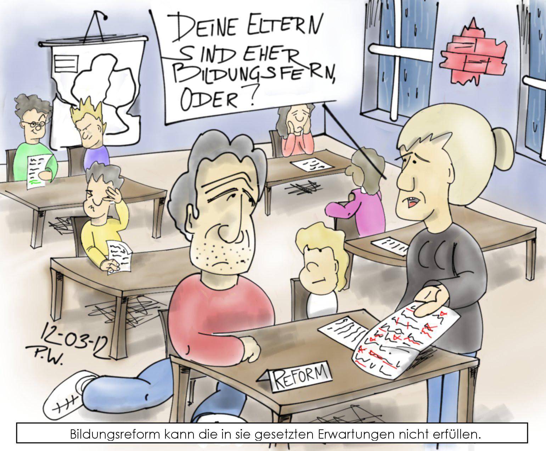 Karikatur: Lehrerin tadelt faulen Schüler