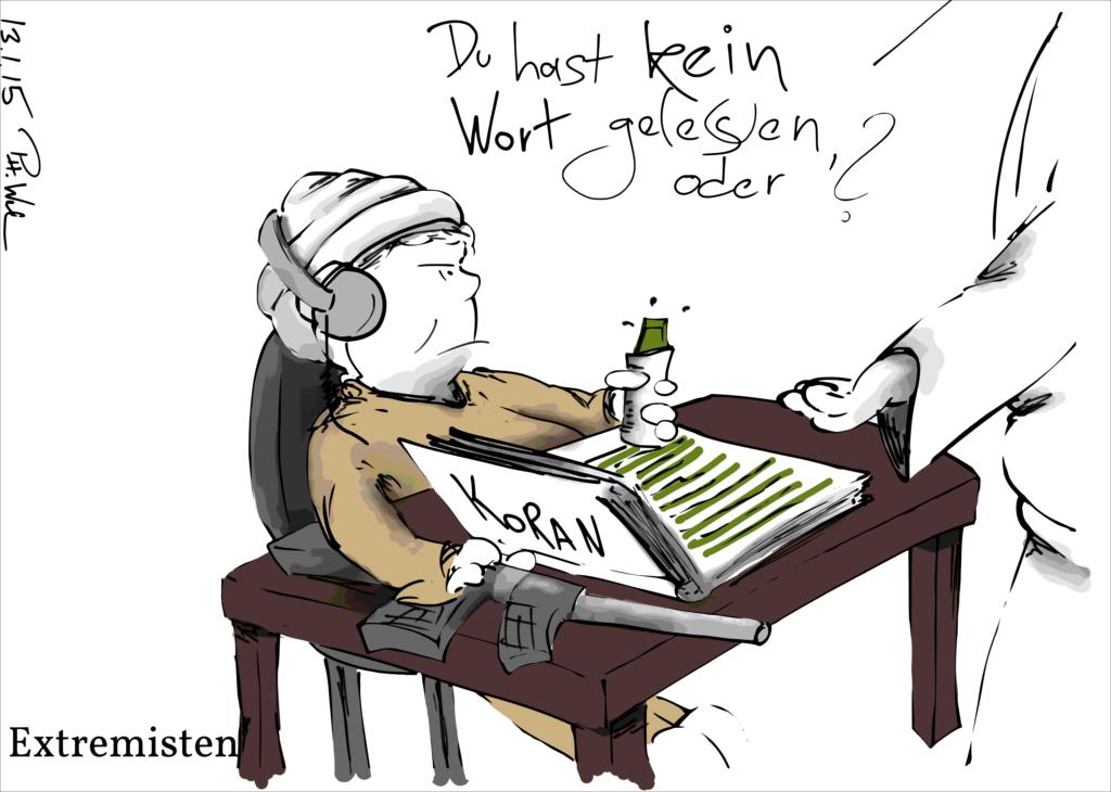 Karikatur: Ein Student streicht einfach alles mit Textmarker an
