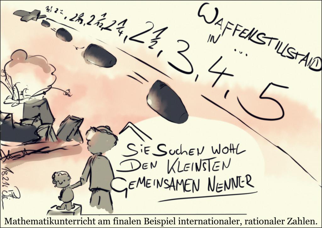 Karikatur: Bomben werden geworfen