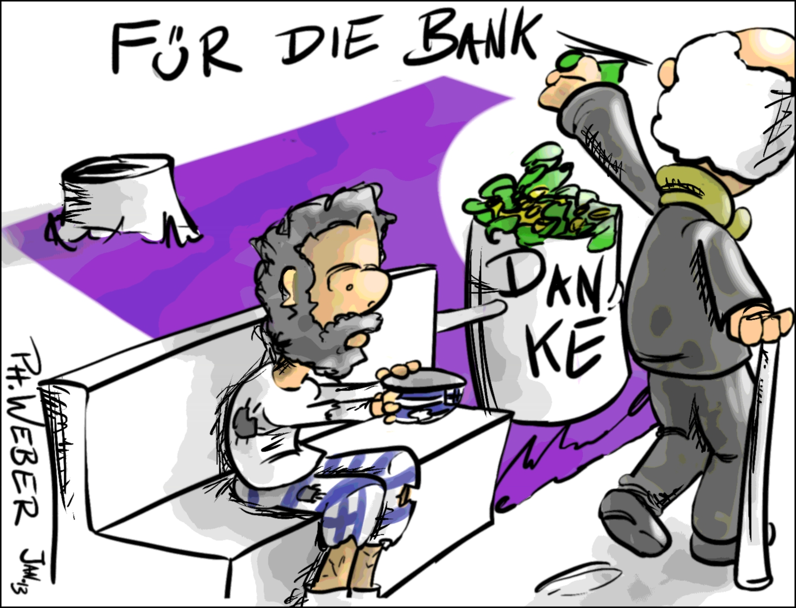 Karikatur: Jemand wirft Geld in eine Mülltonne