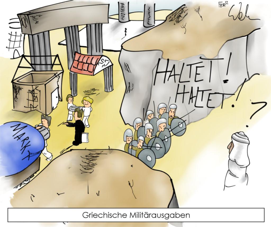 Karikatur: Griechen und Araber