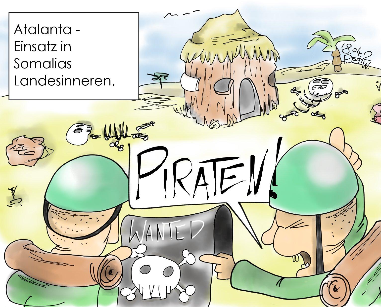 Karikatur / Zwei Bundeswehrsoldaten sehen ein Skelett. Sie rufen: Piraten