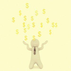 Grafik eines Mannes, der von Dollar Zeichen berieselt wird