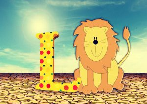 Vektorzeichnung eines Löwen mit L