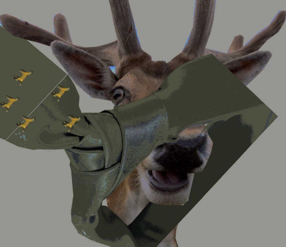 Ein Hirsch und eine Krawatte