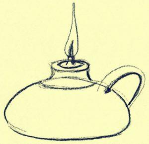 Zeichnung einer Öllampe