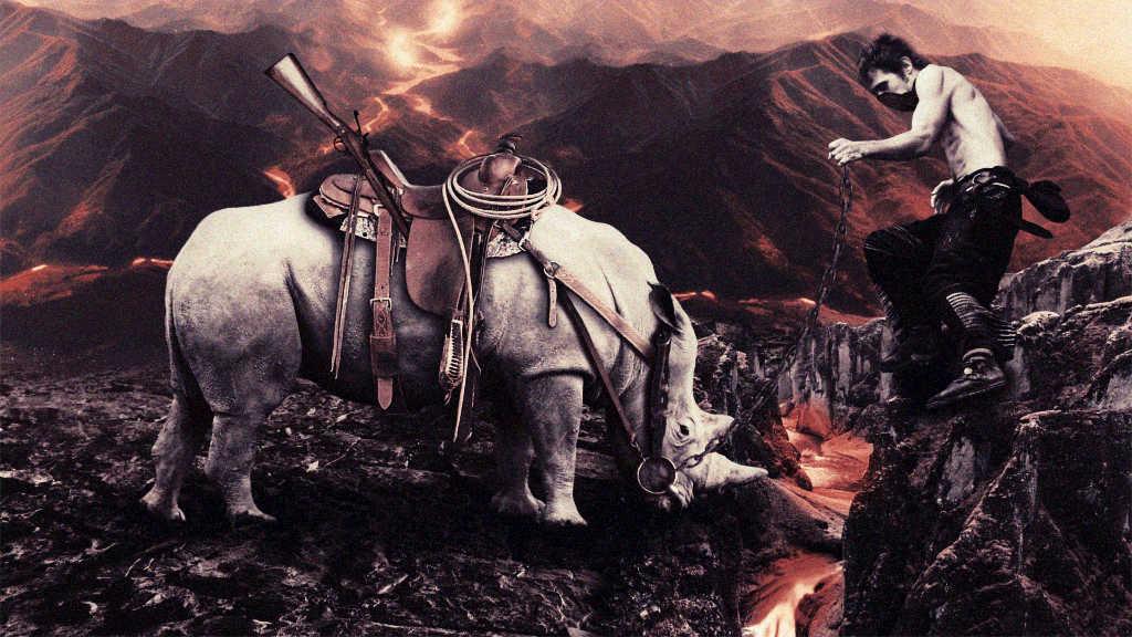 Rhinozeros an einem Vulkan