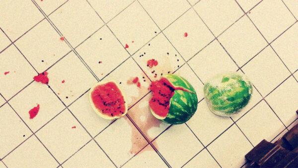 heruntergefallene Melone